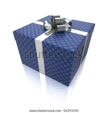 Gift box with patterns isolated on white background - stock photo