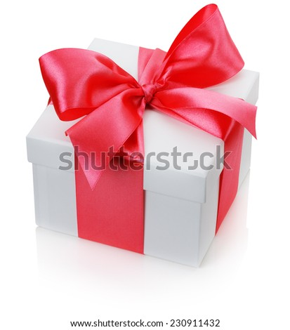 gift box with red bow isolated on the white background - stock photo