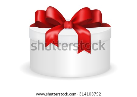 Gift box with red ribbon and bow. Christmas gift. Raster version. Illustration isolated on white background