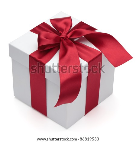 Gift box with red ribbon and bow, isolated on the white background, clipping path included. - stock photo