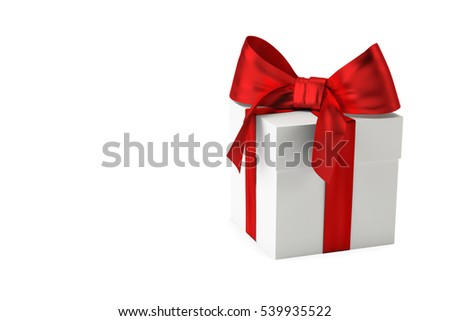 Gift box with red ribbon and bow isolated on white background. Use for Christmas, New Year's Day, Birthday. 3d rendering
