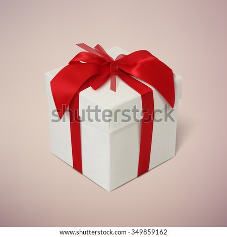 Gift box with red ribbon and bow on blurred background. - stock photo