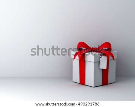 Gift box with red ribbon bow and blank tag over white wall background with shadow abstract. 3D rendering.