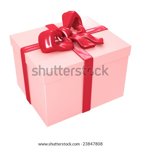 Gift box with red ribbons isolated on white background - stock photo