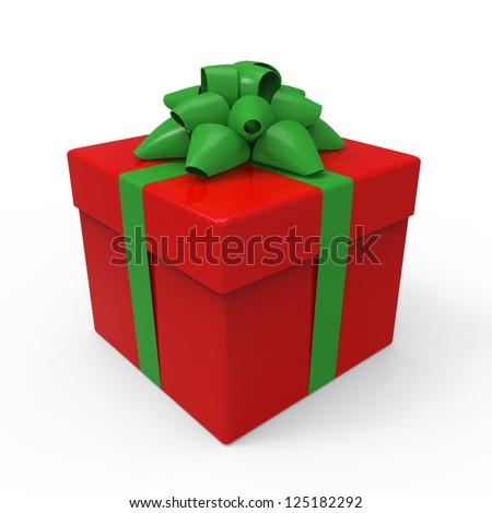 Gift Box with Ribbon - stock photo