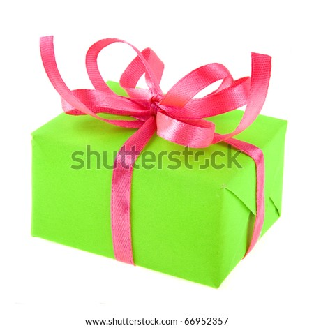 gift box with ribbon bow isolated - stock photo