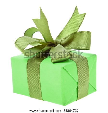 gift box with ribbon bow isolated on white - stock photo