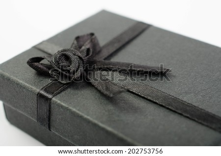 gift box with ribbon bow isolated on white background - stock photo