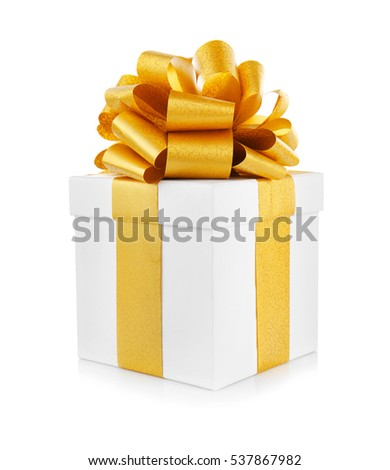 Gift box with ribbon bow on white background