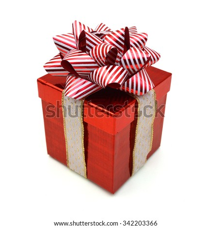 Gift box with ribbon. Christmas theme. Object isolated on white background. Clipping path. - stock photo