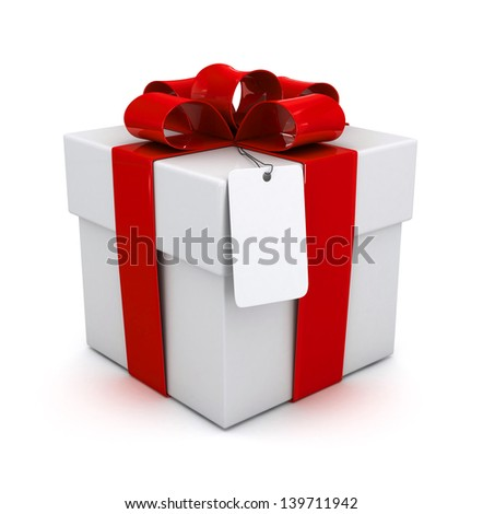 Gift Box with Ribbon, 3d - stock photo