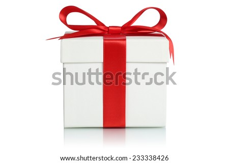 Gift box with ribbon for gifts on Christmas, birthday or Valentines day isolated on a white background - stock photo