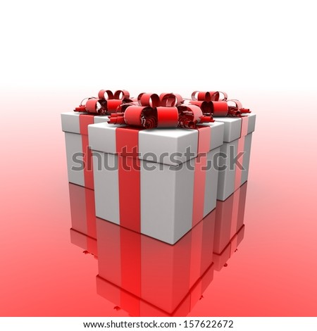 gift box, with ribbon like a present. 3d illustration.