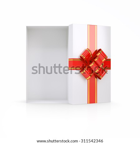 Gift box with ribbon on isolated white background, top view