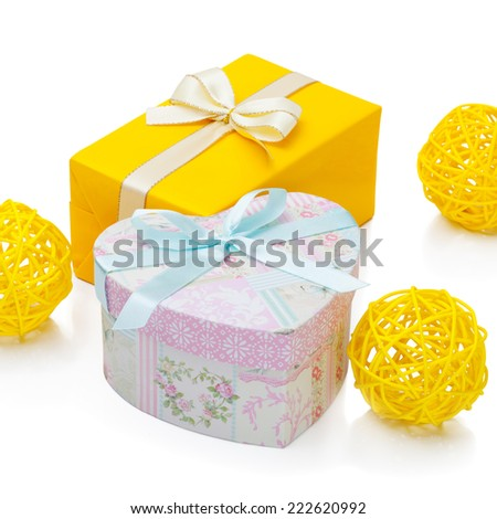 Gift box with ribbon - 1 to 1 ratio - stock photo