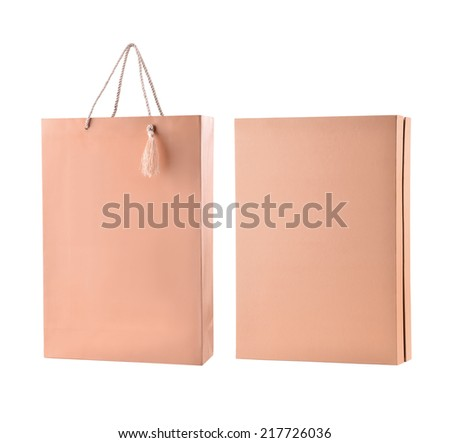 gift box with shopping bag  isolated on white - stock photo