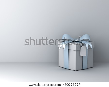 Gift box with silver blue ribbon bow and blank tag over white wall background with shadow abstract. 3D rendering.