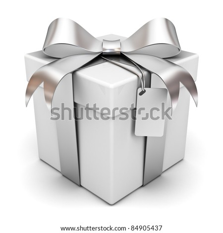 Gift box with silver ribbon bow and blank tag isolated on white background