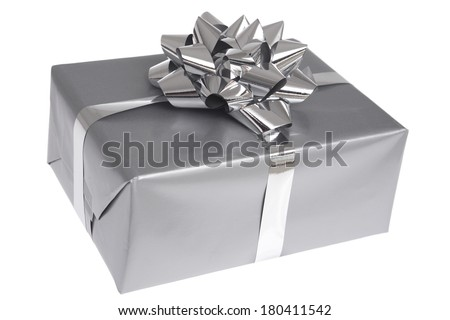 Gift box with silver ribbon bow isolated on white background - stock photo