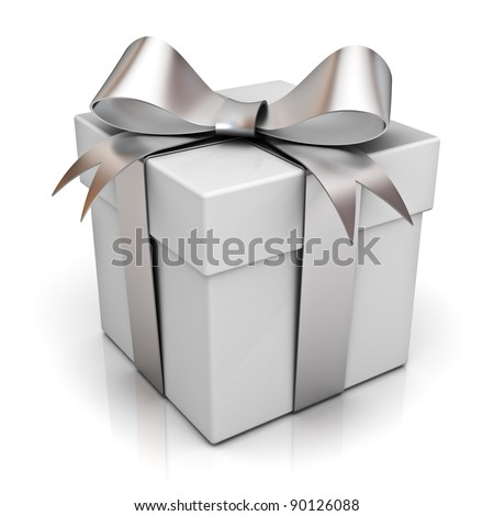 Gift box with silver ribbon bow isolated on white background with reflection - stock photo