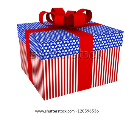 gift box with stars and stripes, with red bow isolated on white background.