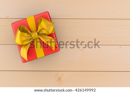 Gift box with yellow bow on wood background 3d rendering - stock photo