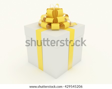 Gift Box with yellow golden glance ribbon and colored bows. Present single package for celebration, event, party. Closed white box with cap for a holiday. Isolated on white background 3d illustration