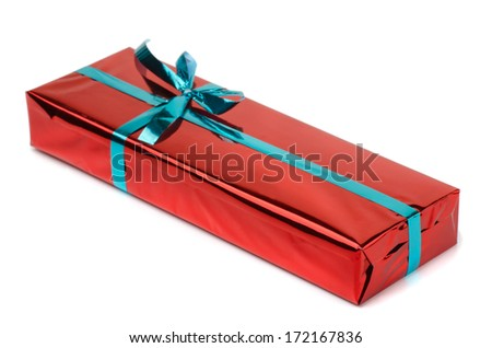 Gift box wrapped with green ribbon isolated on white - stock photo
