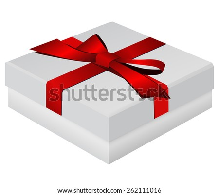 Gift box wrapped with red ribbon   isolated on white background. Raster version - stock photo