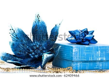 gift box wth Christmas flower poinsettia - stock photo