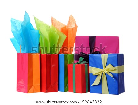 gift boxes and bags isolated on white  - stock photo