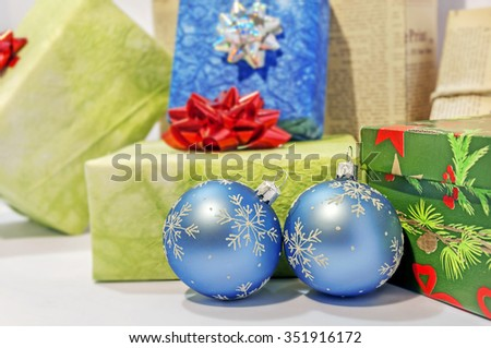 Gift boxes and christmas balls,Isolated on white - stock photo