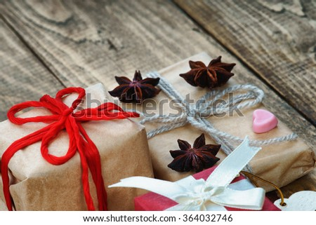 Gift boxes and heart shape