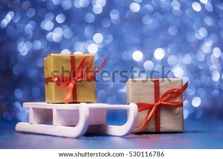 Gift boxes and Santa's sledge, Christmas and New Year concept