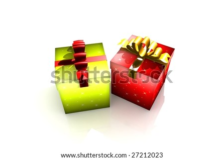 gift boxes - 3d isolated illustration (christmas / valentine's day)