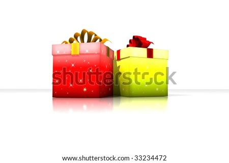 gift boxes - 3d isolated illustration (wedding / christmas / valentine's day)