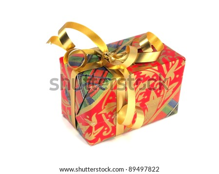 gift boxes decorated with ribbon on a white background. - stock photo