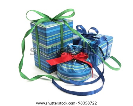 gift boxes decorated with ribbon on a white background - stock photo