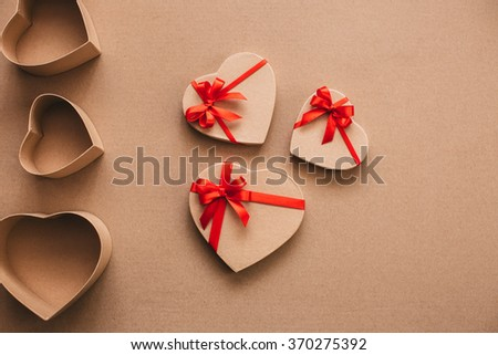 Gift boxes in the shape of heart on Valentine's Day.