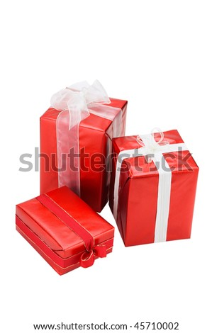 Gift boxes isolated on white background - stock photo