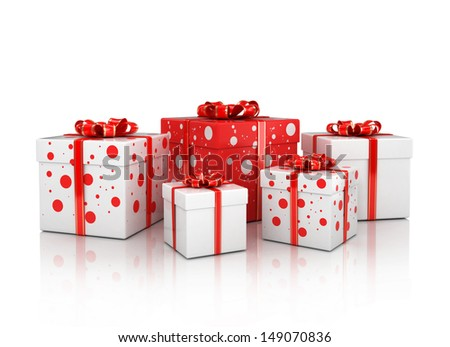 gift boxes isolated on white background 3d illustration