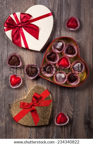 Gift boxes of gourmet chocolates for Valentine's Day - stock photo