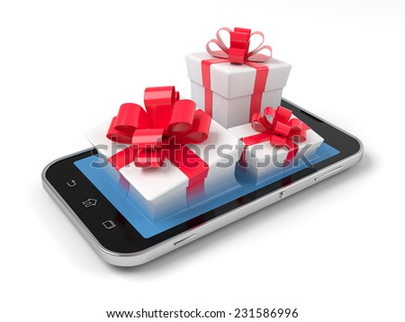 Gift boxes on smartphone over wite. - stock photo