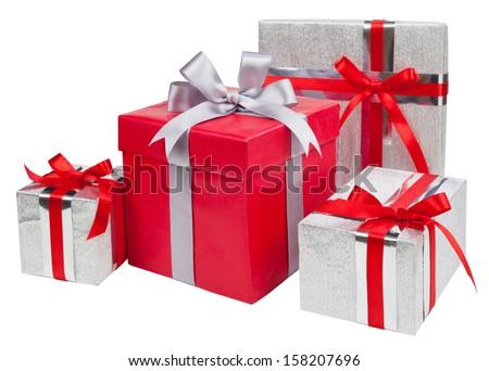 Gift boxes on white background - stock photo