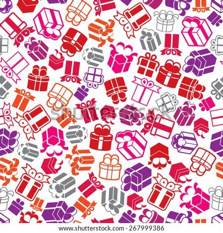 Gift boxes seamless background, icon set, elements easy to use separately as icons. - stock photo
