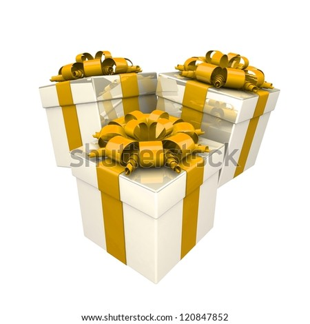 gift boxes, with a colorful ribbon like a present. over white background 3d illustration.