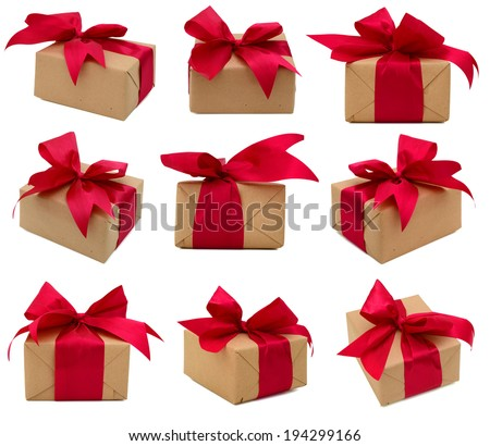 Gift boxes with a red ribbon - stock photo