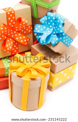 Gift boxes with colorful ribbons