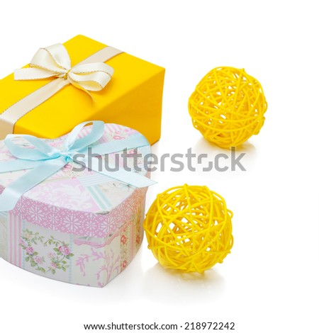 Gift boxes with ribbons - 1 to 1 ratio - stock photo