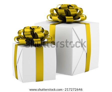 gift boxes with yellow ribbons isolated on white background